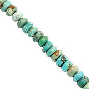 38cts Turquoise Smooth Rondelle Approx 3.5x2.5 to 6x4mm, 20cm Strand