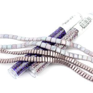 Violet Storm;  Czechmates Tiles 2x50pcs, Bricks 2x50pcs, Miyuki 8/0 & 11/0's