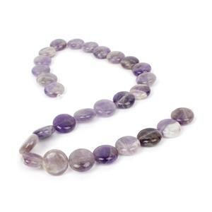 210cts Amethyst Puffy Coins Approx 14mm, 38cm strand