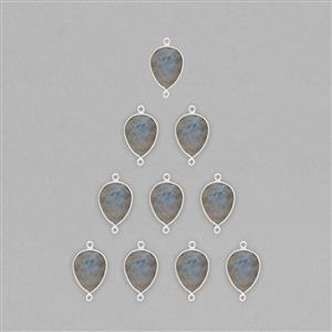 925 Sterling Silver Bezel Connector Approx 23x13mm Inc. 68cts Labradorite Faceted Pear Approx 16x12mm (10pcs)