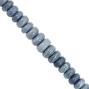 120cts Blue Opal Smooth Rondelle Approx 8x4 to 10.5x5.mm, 23cm Strand