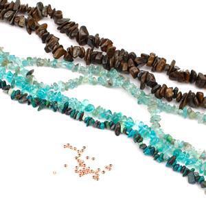 Dark Blue Nuggets Bundle; 4 Strands & Spacer Beads