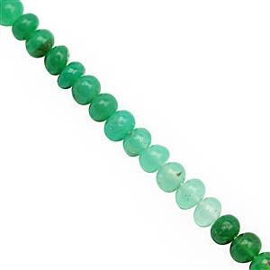 35cts Natural Chrysoprase Smooth Rondelles Approx 4.5x2 to 5.5x3mm, 20cm Strand