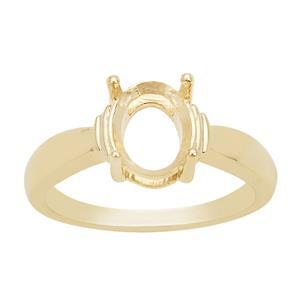 Gold Plated 925 Sterling Silver Oval Ring Mount (To fit 9x7mm gemstone)- 1pcs