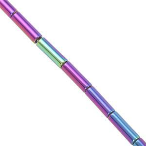 50cts Rainbow Coated Haematite Smooth Tubes Approx 7.5x2.5 to 9x2.5mm, 40cm Strand