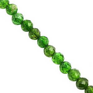 12cts Chrome Diopside Faceted Round Approx 3mm, 15cm Strand