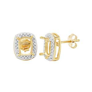 Gold Plated 925 Sterling Silver Cushion Earring Mount (To fit 8x6mm gemstone) - 1 Pair
