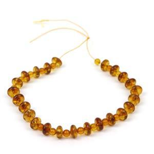 Baltic Cognac Amber Saucers (8mm) with Cognac Amber Rounds (4mm), 20cm Strand