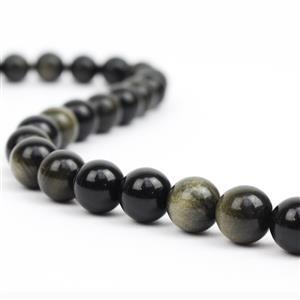 330cts Golden Obsidian Plain Rounds Approx 12mm, 38cm strand