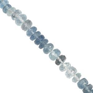 22cts Santa Maria Aquamarine Faceted Rondelle Approx 3x1 to 5.15x3mm 19cm Strand