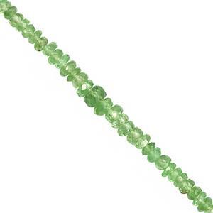 18cts Tsavorite Garnet Graduated Faceted Rondelle Approx 2x1 to 4x2mm, 23cm Strand