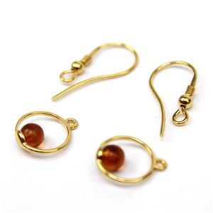 Baltic Cognac Amber Gold Plated Sterling Silver Circle Earrings, Approx. 12mm