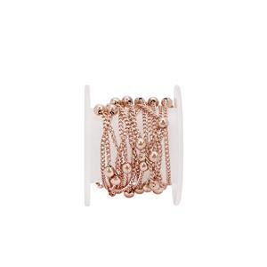 1m Rose Gold Plated Base Metal Beaded Curb Chain, 1mm