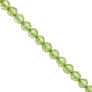 25cts Peridot Faceted Round Approx 3 to 3.50mm, 30cm Strand