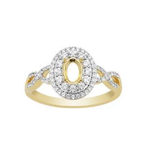 Gold Plated 925 Sterling Silver Oval Ring Mount (To fit 6x4mm gemstones) Inc. 0.55cts White Zircon Brilliant Cut Round 0.90 to 1.50mm- 1 Pcs