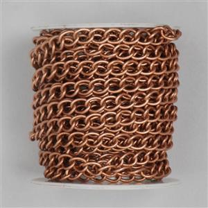 5m Antique Copper Plated Brass Curb Chain (7x5mm Medium)