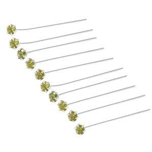 Sterling Silver Head Pin in round 3mm Peridot length 40mm and width 0.50mm (Pack of 10 Pcs.)