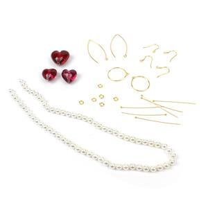 Love Bug; Ruby Lampwork Heart Beads, White Shell Pearls with Gold Plated Sterling Silver Findings