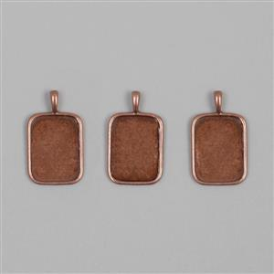 Antique Copper Plated Brass Bezel Pendant Oct - 15x20mm (3pcs/pk)