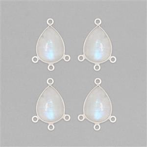 925 Sterling Silver Chandelier With Three Loops Approx 23x16mm Inc. 26cts Rainbow Moonstone Pear Approx 16x12mm (4pcs)