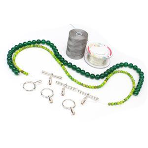Wire Forms INC Silver Mesh, 30cts Peridot Green Rounds, 175cts Green Agate Rounds