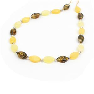 Baltic Multi Colour Amber Oval Bead Strand With Sterling Silver Spacers Approx 8x5mm, 20cm Strand (Butterscotch, Earthy, Off-White)