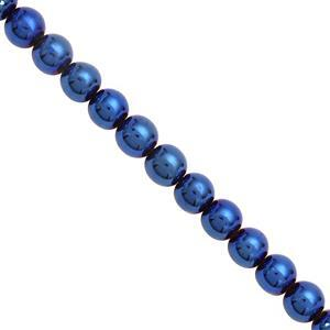145cts Blue Coated Pyrite Smooth Round Approx 8mm,17cm Strand