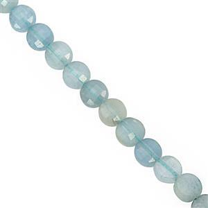 18cts Aquamarine Faceted Puffy Coin Approx 3.50mm, 30cm Strand