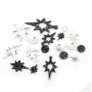 Acrylic Star Pendant and Earrings: Black Glitter and Silver Mirror (18 pieces)