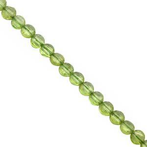20cts Peridot Faceted Puffy Coin Approx 3.5 to 4mm, 30cm Strand