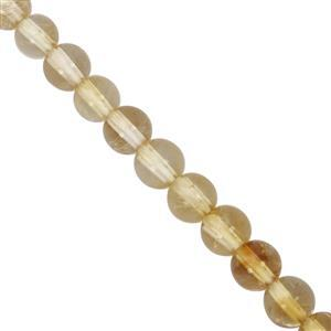 34cts Citrine Smooth Round Approx 4mm, 27cm Strand