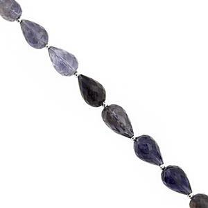 45cts Iolite Center Dril Graduated Faceted Drops Approx 5x3 to 10x7mm, 19cm Strand with Spacers