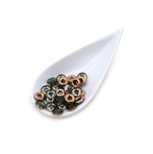 Czech Glass Rings – Light Green Aqua Capri Gold, 10mm (25pk)