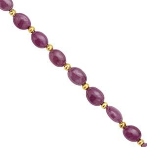 35cts Ruby Center Drill Graduated Smooth Oval Approx 7x5.5 to 9x7mm, 14cm Strand with Spacers