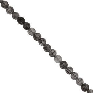 20cts Black Rutile Quartz Faceted Round Seed Beads Approx 2.8 to 3mm, 38cm Strand