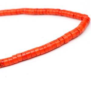 14r0cts Dyed Orange Colour Magnesite Heshi Beads, Approx 3x6mm, 38cm strand