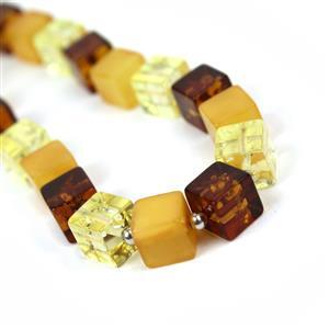 Baltic Multi Colour Amber Cube Bead, Sterling Silver Spacer (Inc. Cognac, Lemon, Butterscotch) Approx 6mm,  20cm