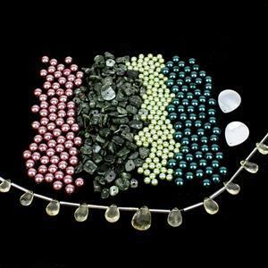 Suzie's Pearl Cluster Necklace; Preciosa Pearls, Nuggets, Quartz & Flat White Shell
