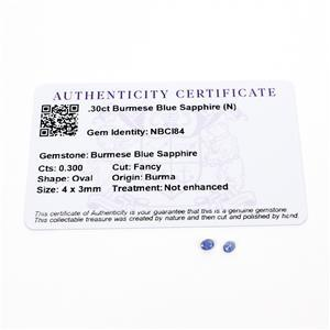 0.3cts Burmese Blue Sapphire 4x3mm Oval Pack of 2 (N)