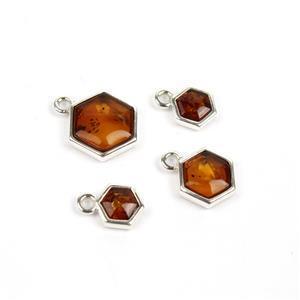 Baltic Cognac Amber Sterling Silver Hexagon Charm Pack, Inc. Approx 2x 6x10mm, 1x 8x12mm, 1x 11x15mm (4pk)