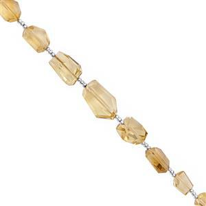 55cts Rio Grande Citrine Graduated Faceted Tumble Approx 7.5x5 to 13x9.5mm, 18cm Strand with Spacers