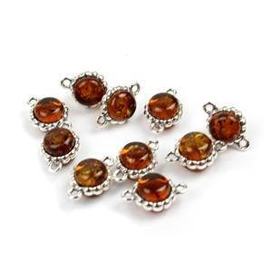 Baltic Cognac Amber Sterling Silver Round Connectors Approx 12x8mm, 10pcs