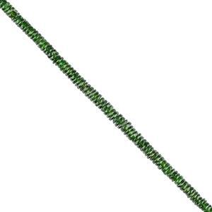 50cts Chrome Diopside Graduated Faceted Wheels Approx 4x1 to 6x2mm, 18cm Strand.