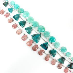 Delightful Drops! Chrysocolla Triangles, Thulite Ovals and Amazonite Hearts