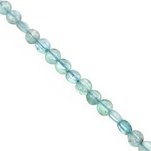 20cts Apatite Faceted Puffy Coins Approx 3.50 to 4mm, 30cm Strand