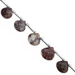 68cts Rubellite Quartz Top Side Drill Faceted Heart Approx 9.50 to 13.50mm, 23cm Strand with Spacers