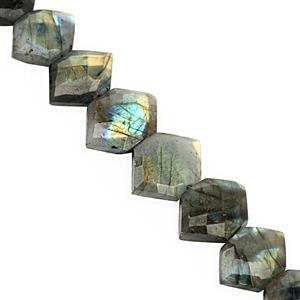 185cts Grey Labradorite Center Drill Graduated Faceted Fancy Approx 15x11 to 25.5x18mm, 22cm Strand