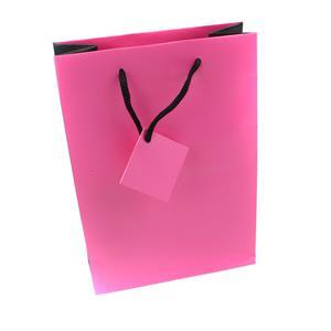 Pink + Black Gift Bag 152x216x76mm (WxHxD)