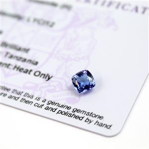 0.85cts  Tanzanite 6x6mm Cushion  (H)