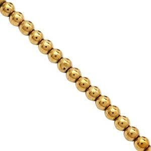 90cts Golden Haematite Plain Round Approx 4mm, 40cm Strand